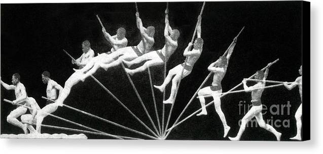 Photography Canvas Print featuring the photograph Man Pole Vaulting 1884 by Nypl