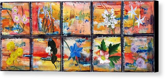 Series Canvas Print featuring the painting native Texas wildflowers B by Michael Dillon