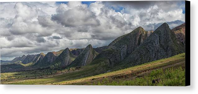 Peak Canvas Print featuring the photograph Near Vertical Sandstone Beds Form by Robert Postma