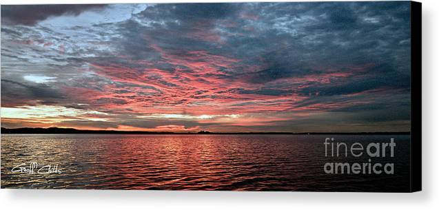 Sunrise Canvas Print featuring the photograph Pink And Grey At Sea - Sunrise Panorama by Geoff Childs