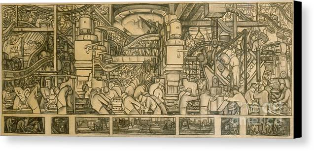 Diego Rivera Canvas Print featuring the drawing Presentation Drawing Of The Automotive Panel For The North Wall Of The Detroit Industry Mural by Diego Rivera
