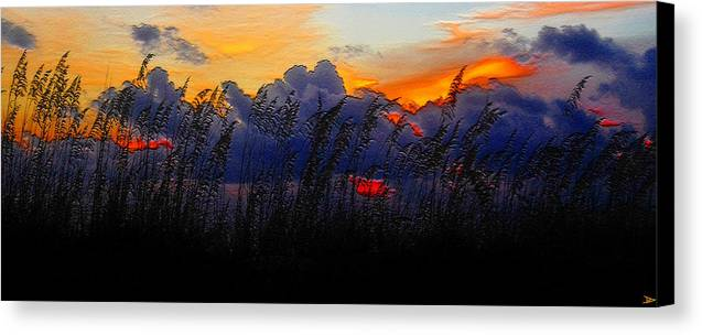 Sea Oat Sunset Canvas Print featuring the painting Sea Oat Sunset by David Lee Thompson