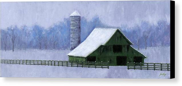 Barn Canvas Print featuring the painting Turner Barn In Brentwood by Janet King