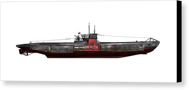 Type Viic/42 Canvas Print featuring the photograph Type Viic42 U-boat, Artwork by Science Photo Library