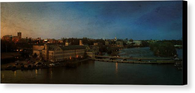 Appleton Canvas Print featuring the photograph Panoramic Appleton Skyline by Joel Witmeyer
