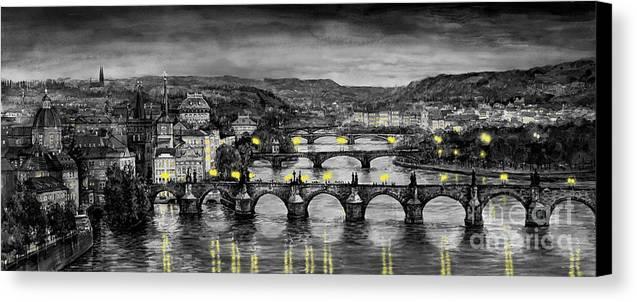 Prague Canvas Print featuring the painting Bw Prague Bridges by Yuriy Shevchuk