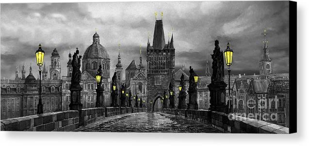 Prague Canvas Print featuring the painting Bw Prague Charles Bridge 04 by Yuriy Shevchuk