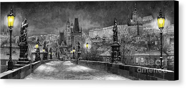 Prague Canvas Print featuring the painting Bw Prague Charles Bridge 06 by Yuriy Shevchuk