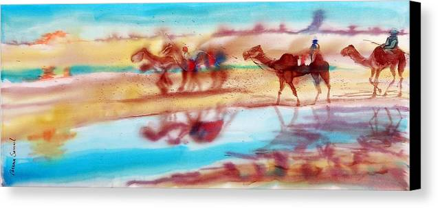 Camels Canvas Print featuring the painting Camel Run by Beena Samuel