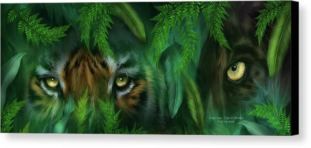 Big Cat Art Canvas Print featuring the mixed media Jungle Eyes - Tiger And Panther by Carol Cavalaris