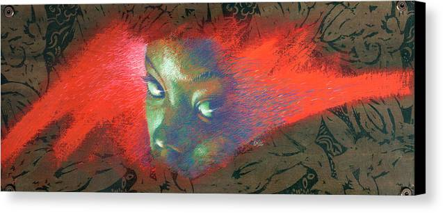 Portraits Canvas Print featuring the painting Junglevision by Ken Meyer jr