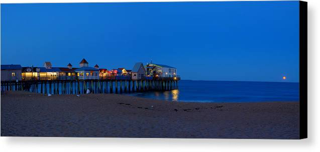 Panorama Canvas Print featuring the photograph Moonrise In Old Orchard Beach by David Bishop