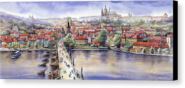 Watercolour Canvas Print featuring the painting Panorama With Vltava River Charles Bridge And Prague Castle St Vit by Yuriy Shevchuk