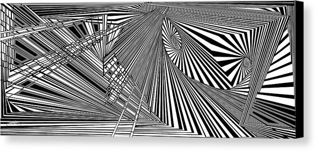 Dynamic Black And White Canvas Print featuring the digital art Rednoweht by Douglas Christian Larsen