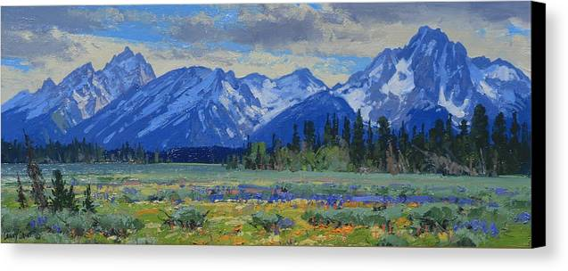 Landscape Canvas Print featuring the painting Teton Summer by Lanny Grant