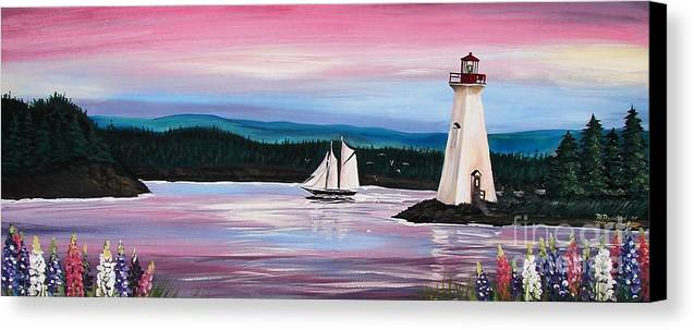Sailing Canvas Print featuring the painting The Blue Nose II At Baddeck Nova Scotia by Patricia L Davidson