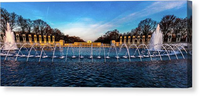 Photography Canvas Print featuring the photograph Washington D.c. - Fountains And World by Panoramic Images