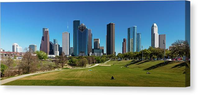 Photography Canvas Print featuring the photograph Houston, Texas - High Rise Buildings by Panoramic Images