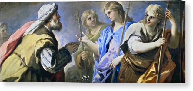 Luca Giordano Canvas Print featuring the painting Abraham And The Three Angels by Luca Giordano