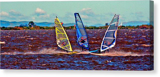 Wind Surfing Canvas Print featuring the digital art Three Amigo Windsurfers by Joseph Coulombe
