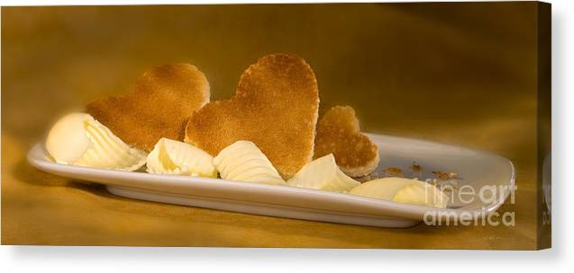 Iris Holzer Richardson Canvas Print featuring the photograph Toast Hearts With Butter by Iris Richardson