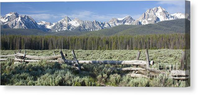 Sawtooth Mountains Canvas Print featuring the photograph Fence And The Sawtooths by Idaho Scenic Images Linda Lantzy