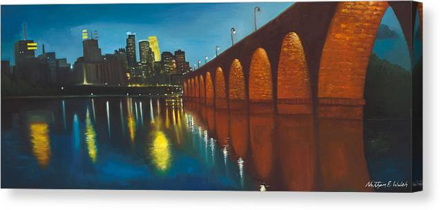 Minnesota Canvas Print featuring the painting Mississippi Blues by Nathan Walsh