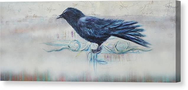 Crow Canvas Print featuring the painting The Obersever by Therese Misner