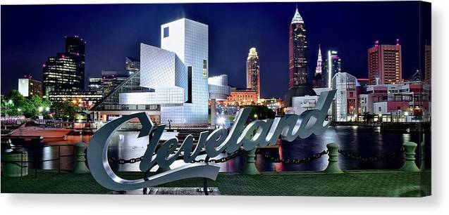 Cleveland Canvas Print featuring the photograph Cleveland Ohio 2019 by Frozen in Time Fine Art Photography