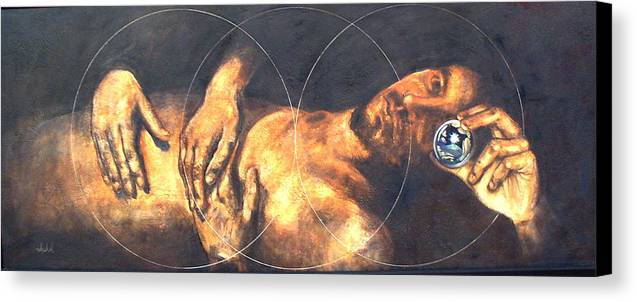Sacred Geometry Canvas Print featuring the painting The Treshold by Ixchel Amor