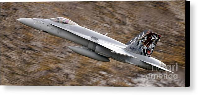 Aircraft Canvas Print featuring the photograph f18 by Angel Tarantella