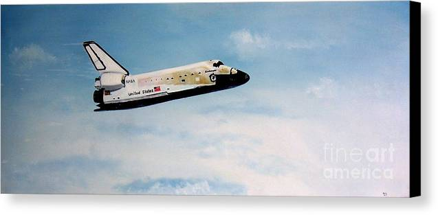Shuttle Canvas Print featuring the painting Challenger by Murphy Elliott