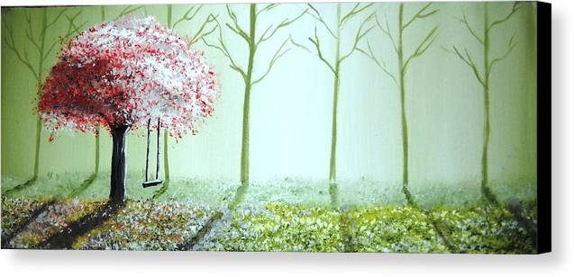 Fantasy Canvas Print featuring the painting Fantasy Garden by Edwin Alverio