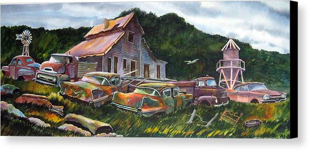 Cadillacs Canvas Print featuring the painting Cadillac Ranch by Ron Morrison