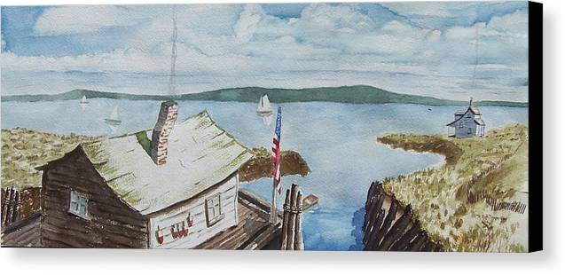 Puget Sound Canvas Print featuring the painting Fishing Shack With Old Glory by Robert Thomaston