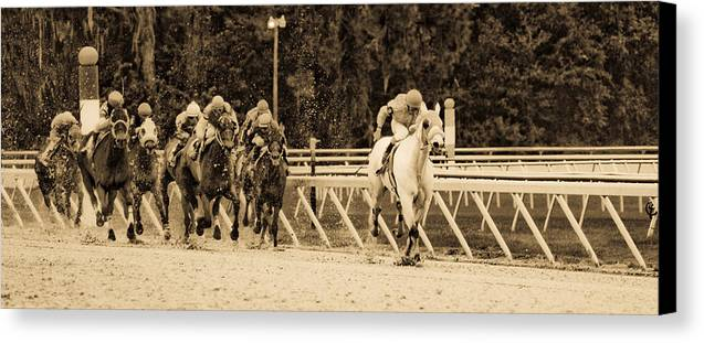 Race Horse Canvas Print featuring the photograph Home Stretch by Patrick Flynn