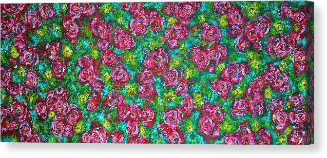 Garden Canvas Print featuring the painting Roses Pattern by Ericka Herazo