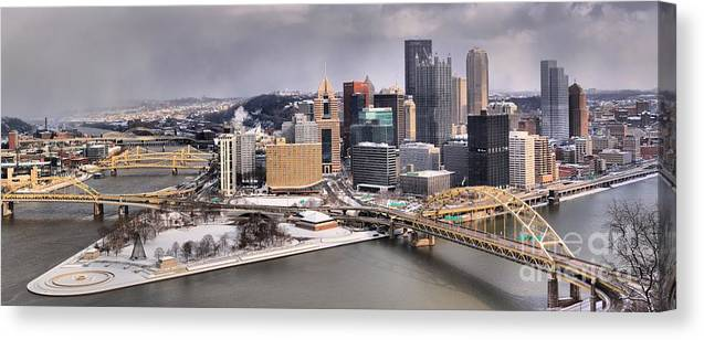 Pittsburgh Skyline Canvas Print featuring the photograph Steel City Storm Clouds by Adam Jewell