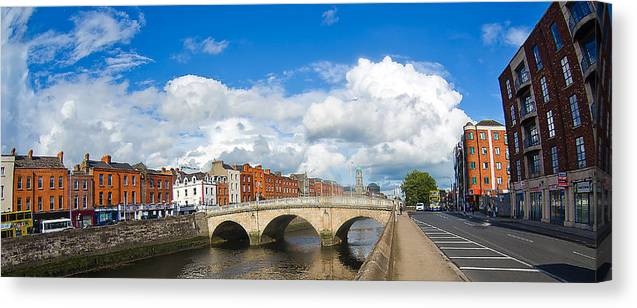 He Four Courts In Reconstruction Canvas Print featuring the photograph Dublin's Fairytales Around River Liffey 2 by Alex Art and Photo