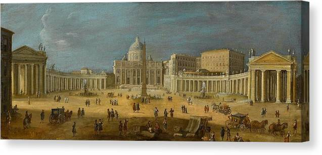 Circle Of Gaspar Van Wittel Canvas Print featuring the painting Peters Basilica by MotionAge Designs
