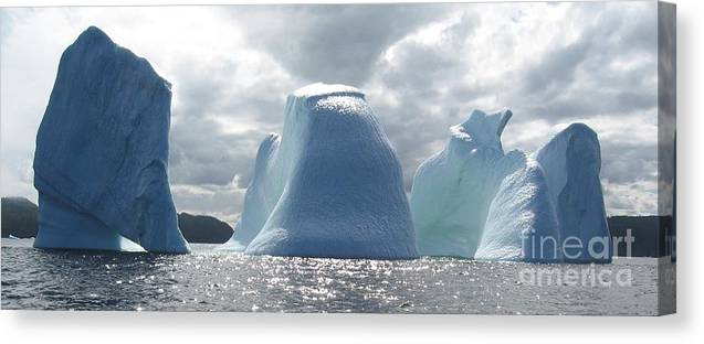 Iceberg Photograph Ice Water Ocean Altantic Newfoundland Summer Canvas Print featuring the photograph Iceberg by Seon-Jeong Kim