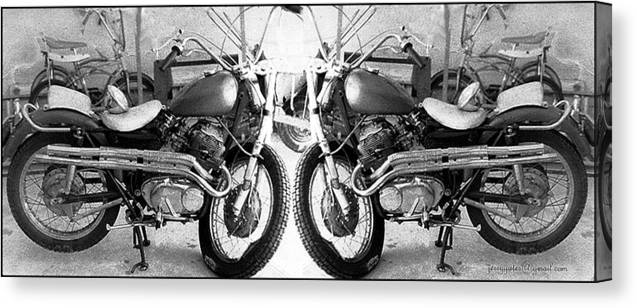 Motor Cycle Canvas Print featuring the photograph Confrontation With Death by Gerard Yates