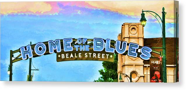 Street Canvas Print featuring the photograph Home Of The Blues - Beale Street by Allen Beatty