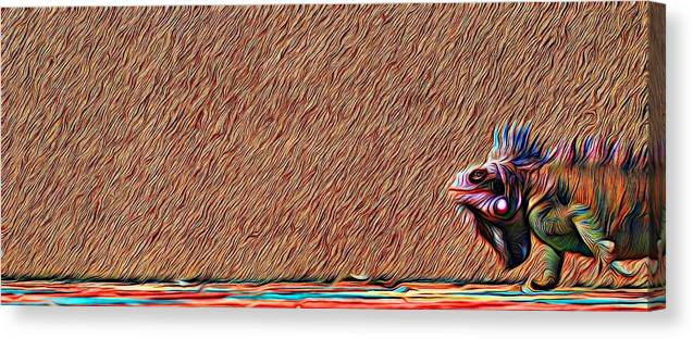 Abstract Art Canvas Print featuring the photograph Iguana Blend by David Coleman