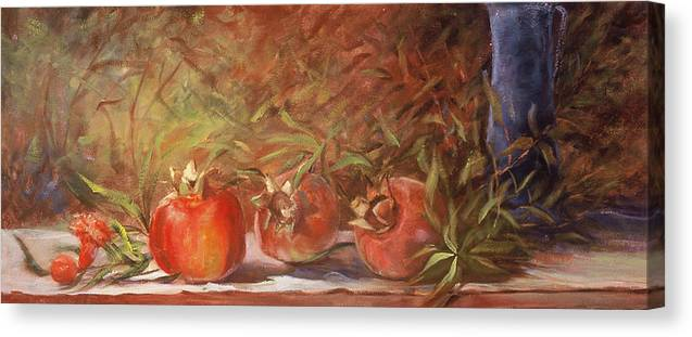 Still Life Canvas Print featuring the painting Pomegranates by Jimmie Trotter