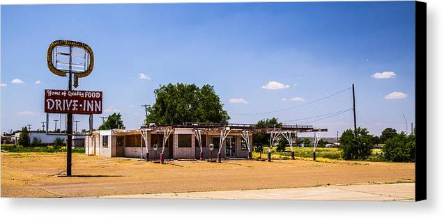 Route 66 Canvas Print featuring the photograph Drive Inn by Angus Hooper Iii