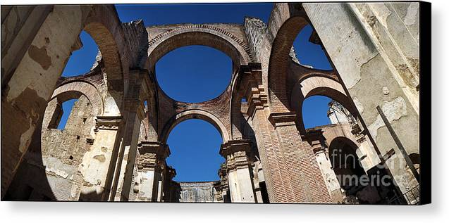C122205 Canvas Print featuring the photograph La Antigue Cathedral Ruin by Ty Lee