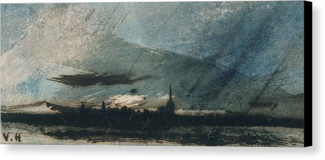 Town At Dusk (pen & Ink And W/c On Paper) Twilight Canvas Print featuring the painting Town At Dusk by Victor Hugo