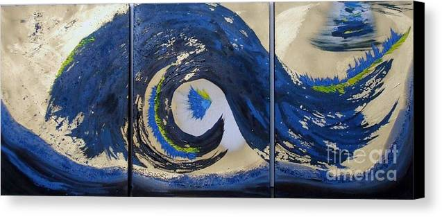 Handmade Acrylic On Canvas 3 Part Abstract Painting Canvas Print featuring the painting Blue Wave by Katarina Benova
