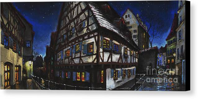 Pastel Canvas Print featuring the painting Germany Ulm Fischer Viertel Schwor-haus by Yuriy Shevchuk